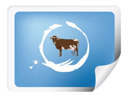Label with a cow for packaging dairy products photo