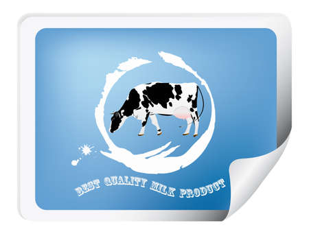 Label with a cow for packaging dairy products  Vector
