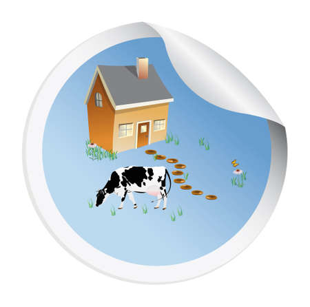 Sticker with a cow for packaging dairy products photo