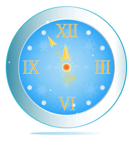 New Years clock  illustration Stock Vector - 16742316