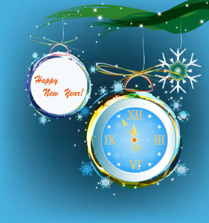New Years clock illustration Stock Vector - 16742374