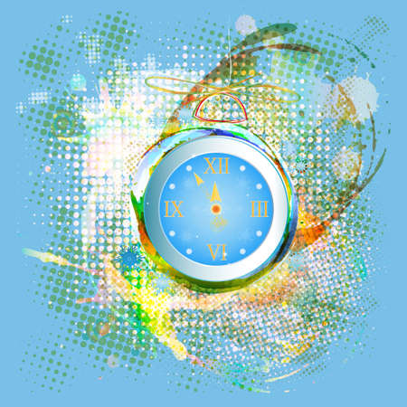 New Years clock on a abstract background Holiday concept photo