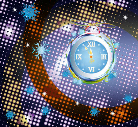 New Years clock on a abstract background  Vector