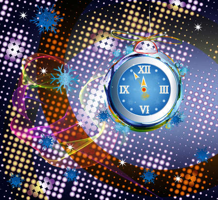 New Years clock on a abstract background photo