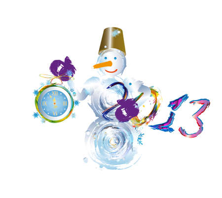 Snowman and new yeas clock on a white background