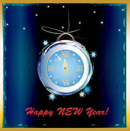 New Years clock on a dark blue abstract background Stock Vector - 16802346