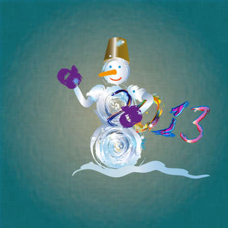 The snowman on a abstract background Holiday new years card photo