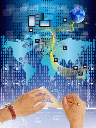 Innovative engineering designing internet communication Standard-Bild