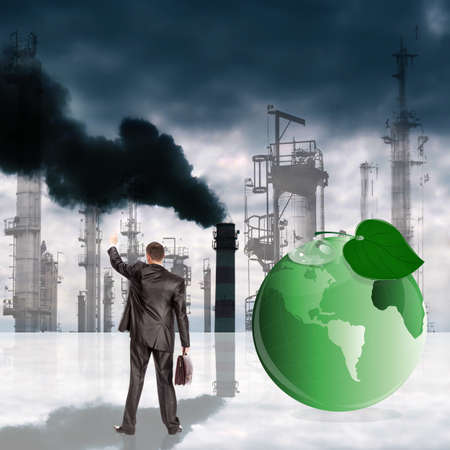 contaminacion ambiental: La contaminaci�n ambiental t�xico emisiones industriales concepto Ecolog�a