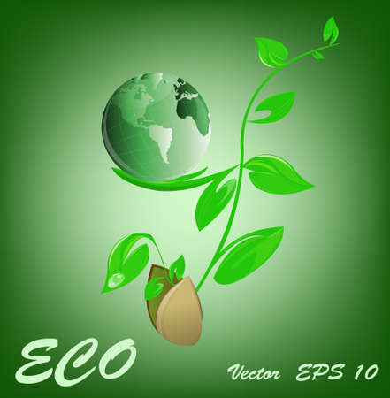 Ecology concept Green planet   Vector