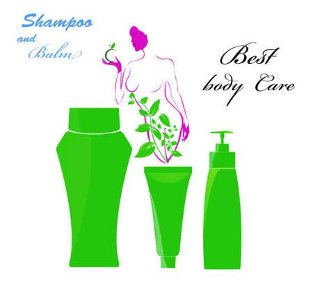 balm: Shampoo and balm Best body care Stock Photo