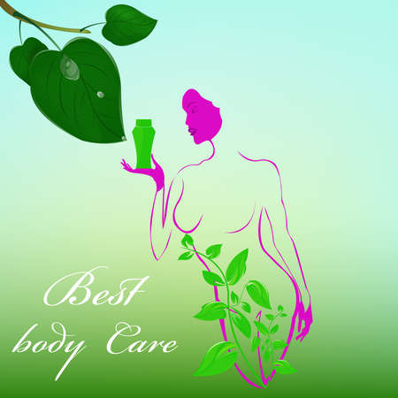 Best body care Healthy plants female medicine cosmetic  Vector