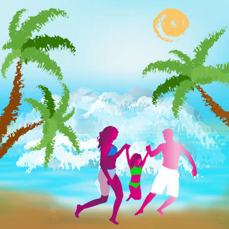 Happy Family rest on exotic tropical island photo