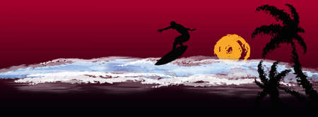 Night exotic tropical sea landscape Extreme surfing  Vector