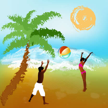 Happy children play on exotic sea beach   Vector