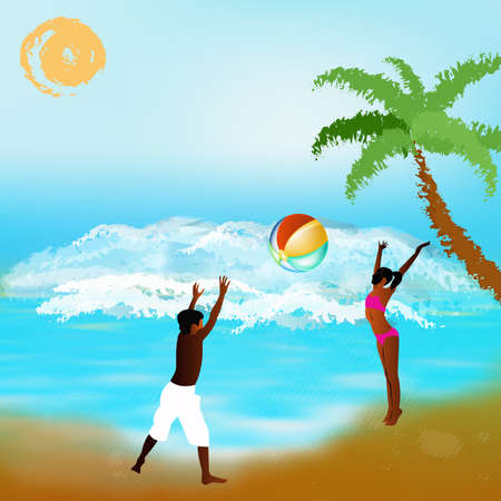 Happy children play on exotic sea beach Stock Photo - 17246266