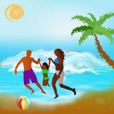 health resort: Happy Family rest on exotic sea resort  Stock Photo