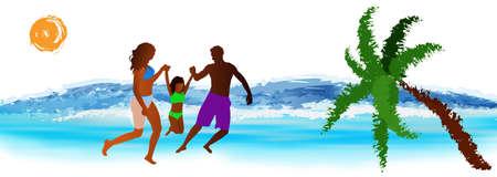 Happy Family rest on exotic sea resort Stock Photo - 17276700