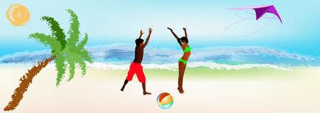 Happy children play on exotic sea beach Summer rest Vector Stock Vector - 17252916