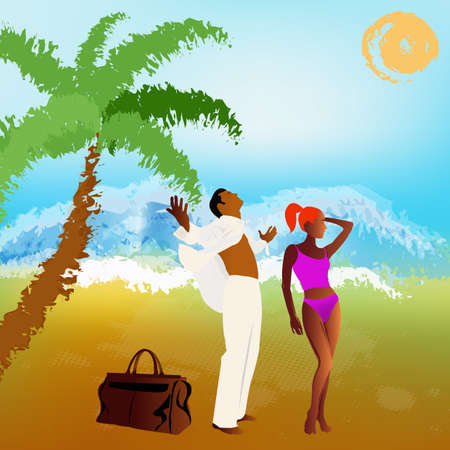 sac: Romantic travel on exotic tropical island Summer family rest Stock Photo