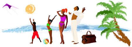 sac: Romantic travel on exotic tropical island Summer family rest Illustration