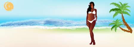 health resort: Romantic travel on exotic tropical island Vector Illustration
