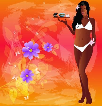 creole: Best body care and hair Spa concept Female cosmetology Vector