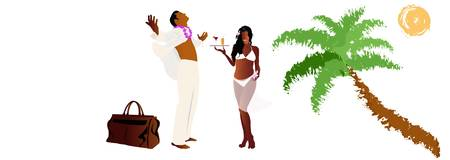 creole: Romantic travel on exotic tropical island Vector Illustration