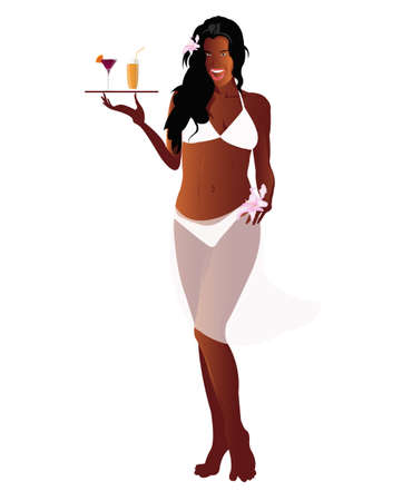 Woman creole with fruit beverage on a white background Stock Photo