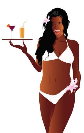 creole: Woman creole with fruit beverage Vector Illustration
