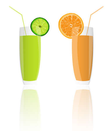 Fresh juice orange and lime on a white background photo