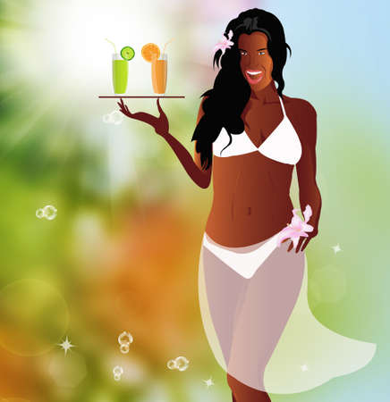 Sexy woman creole and fresh juice orange and lime on a exotic nature