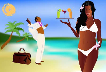 creole: Summer romantic travel on exotic tropical island  Vector