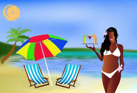 sexy umbrella: Romantic summer travel Sea lagoon landscape Stock Photo