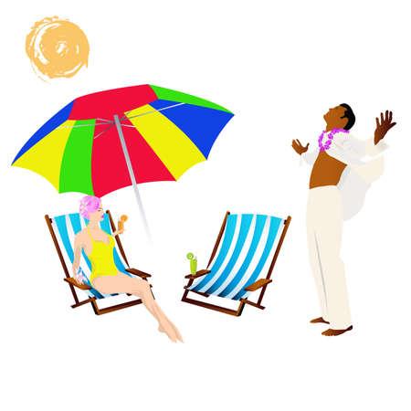 Romantic summer travel Silhouette Vector Stock Vector - 17338257