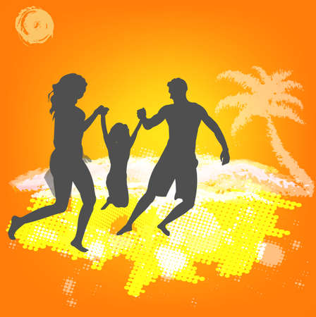 Happy Family rest on exotic sea resort Vector Vector