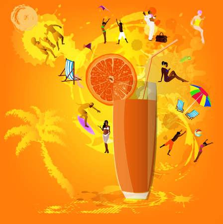 Fresh juice orange Summer exotic rest photo