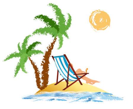 Romantic travel on exotic tropical island Vector Stock Vector - 17476364