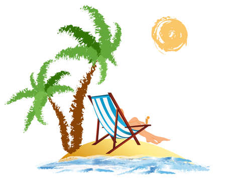 breakers: Romantic travel on exotic tropical island Vector Illustration