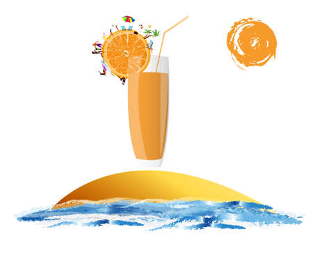 Fresh juice orange Summer exotic rest Stock Photo - 17476360