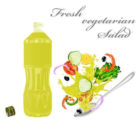 salatdressing: Frische vegetarische Gem�se-Salat und nat�rlichem Oliven�l