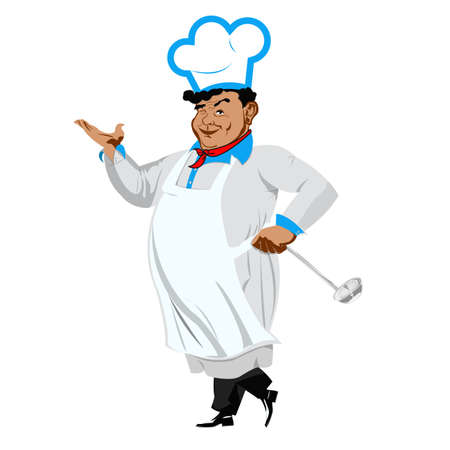 one sided: Funny Chef on a white background Vector