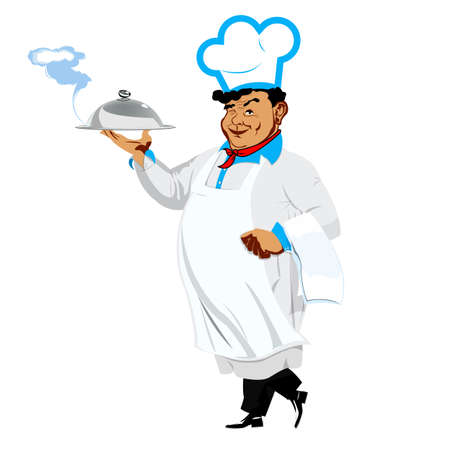 one sided: Funny Chef on a white background