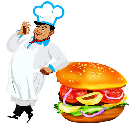 Funny Chef  and  fresh hamburger on a white background photo