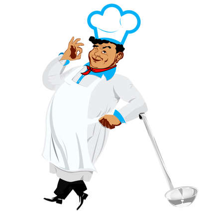 one sided: Funny happy Chef Stock Photo