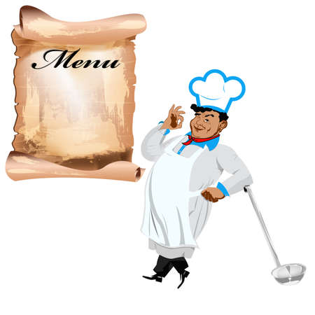 one sided: Funny happy Chef and menu on a white background  Illustration
