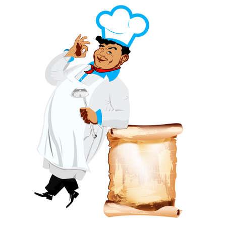 Funny happy Chef and menu