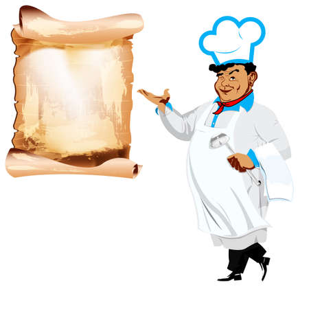 one sided: Funny happy Chef and menu on a white background  Stock Photo
