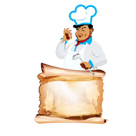 one sided: Funny happy Chef and menu on a white background