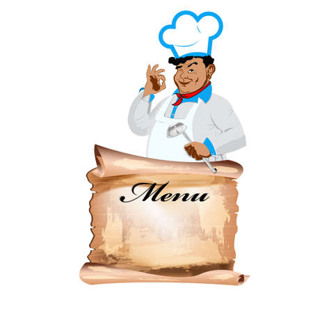 Funny happy Chef and menu on a white background  Illustration